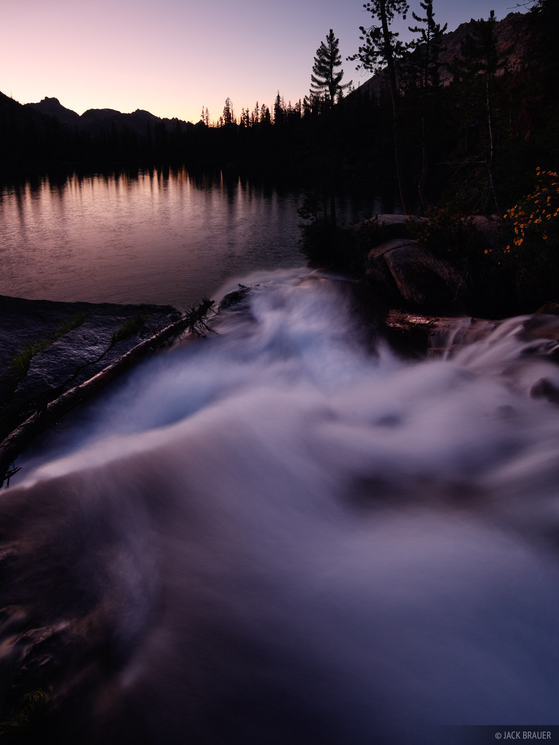 Cramer Lake, waterfall, Sawtooth Mountains, Idaho, photo