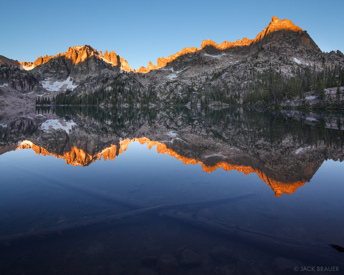 Baron Lake, blue, reflection, Sawtooth Mountains, Idaho, photo