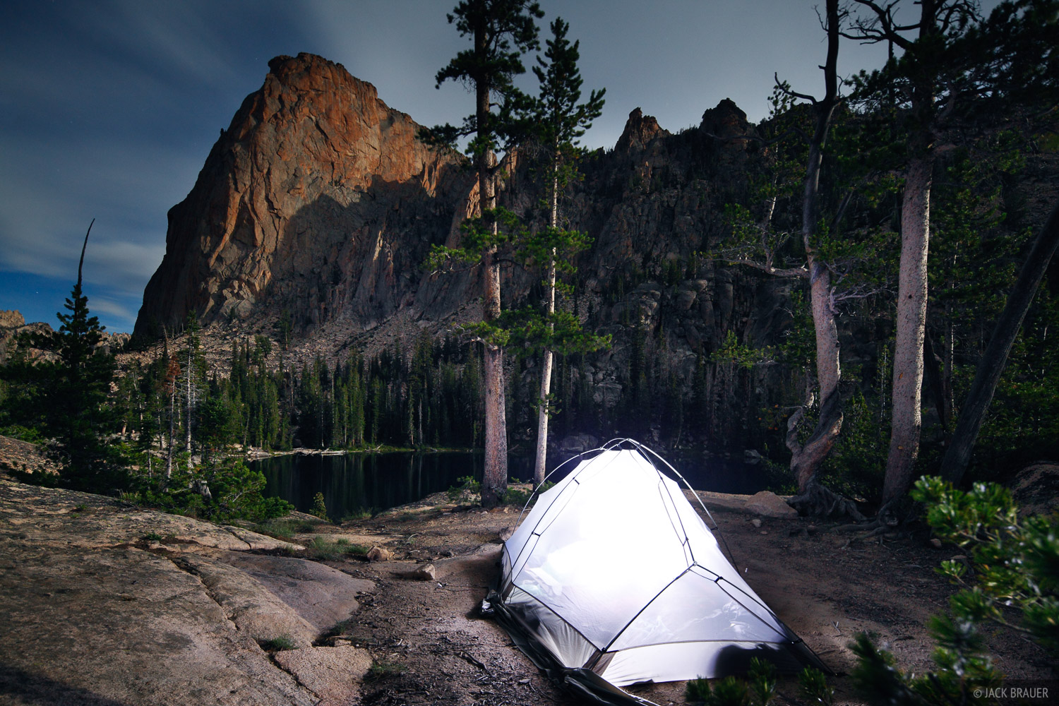 Elephant's Perch, moonlight, tent, Sawtooth Mountains, Idaho, photo