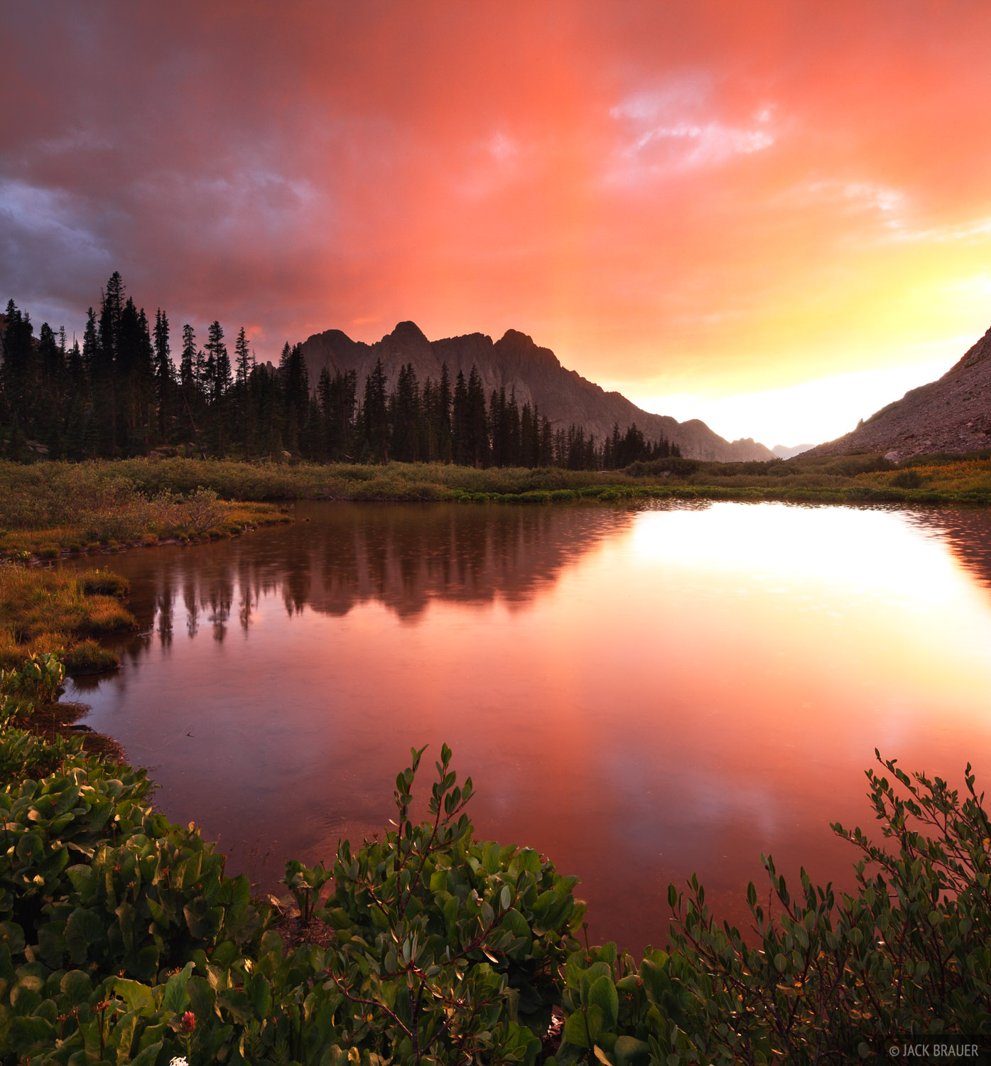 A brilliant sunset above Animas Mountain deep in the Weminuche Wilderness.