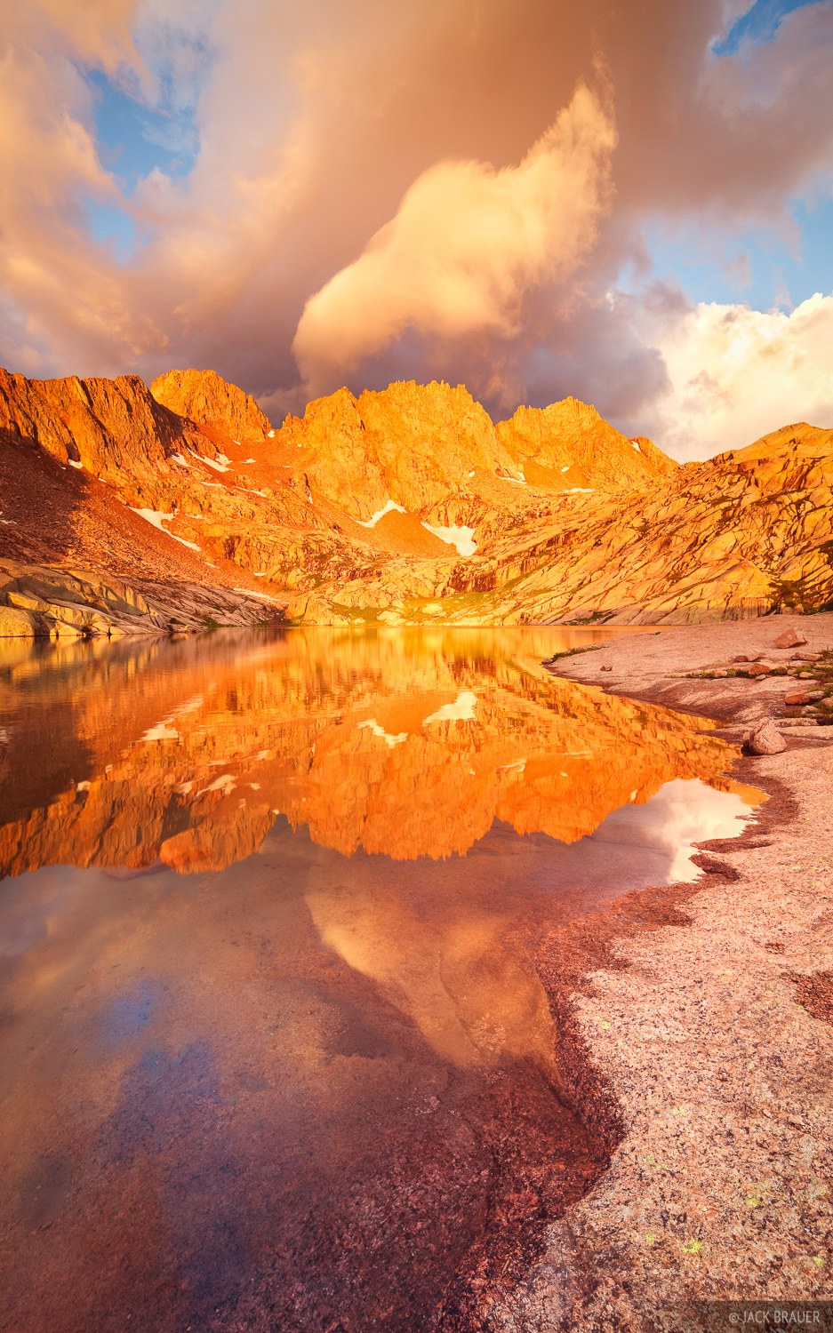 Sunlight Peak, Windom Peak, sunrise, reflection, Weminuche Wilderness, San Juan Mountains, Colorado, photo