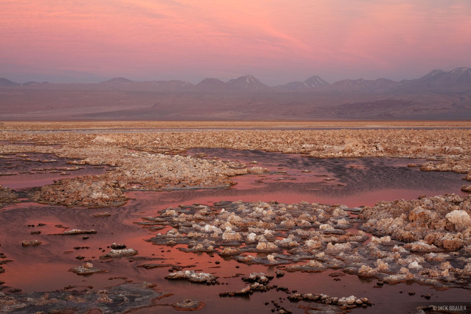 A mellow sunset at Laguna Chaxa in the Salar de Atacama giant salt flat near San Pedro de Atacama.