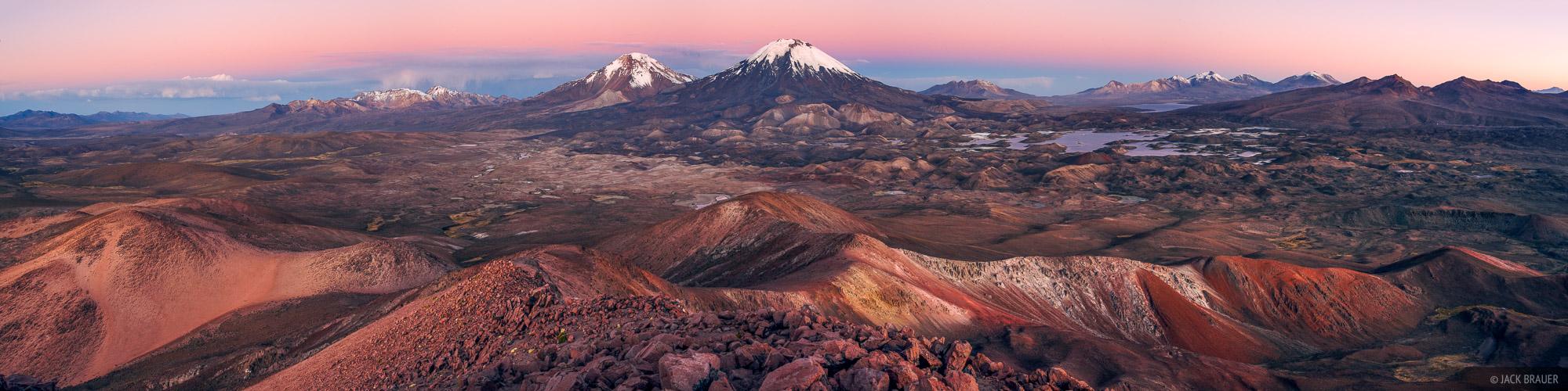 Cerros de Payachata, Parinacota, Pomerape, Altiplano, Chile, Lago Cotacotani, Cerro Guane Guane, sunset, panorama, volca