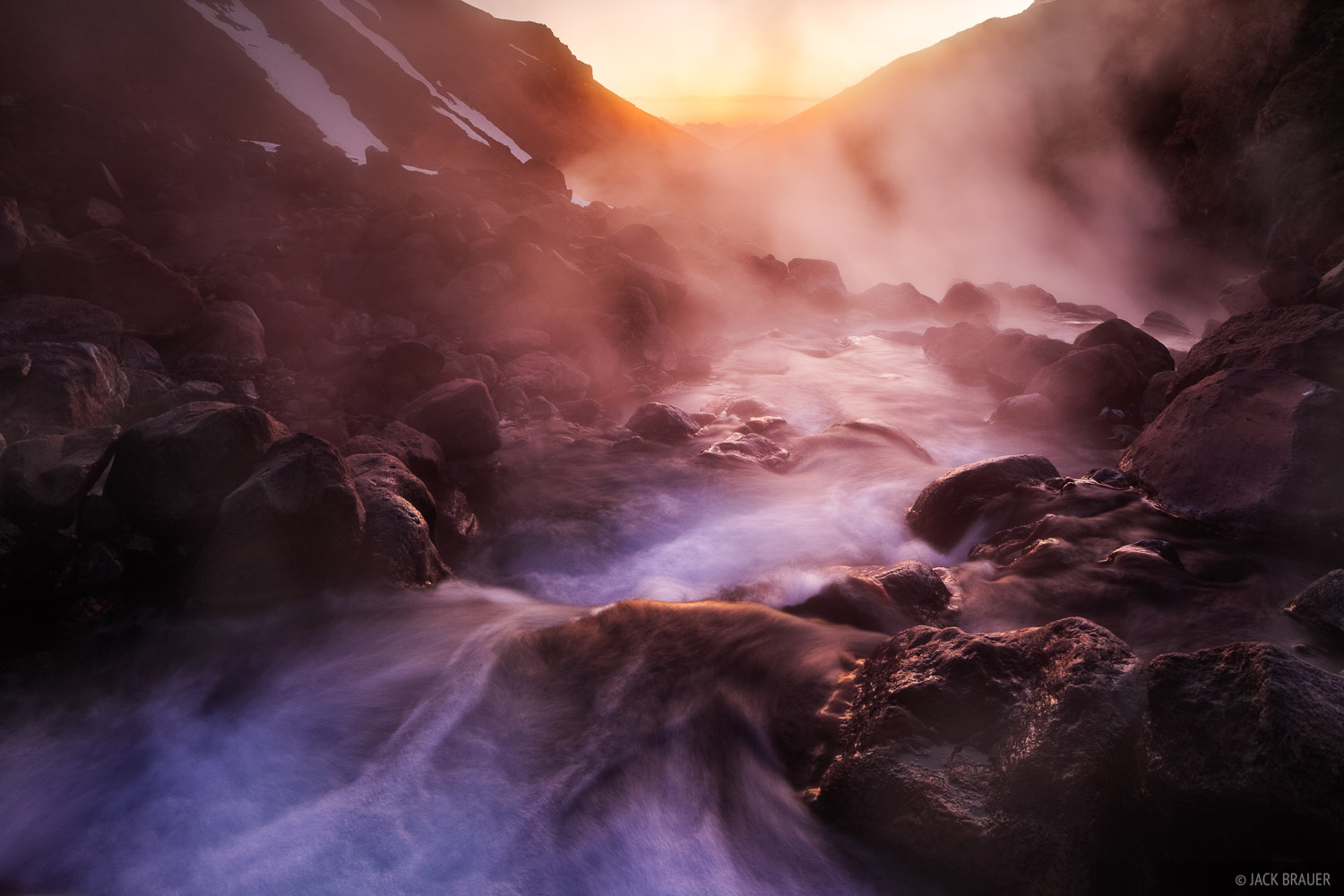 The hot springs rivers in Valle de Aguas Calientes steam in the cool dusk air. The water here is scalding hot, though a...