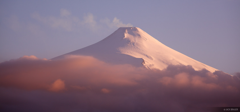 The smoking Volcán Villarrica as seen from Pucón, Chile.