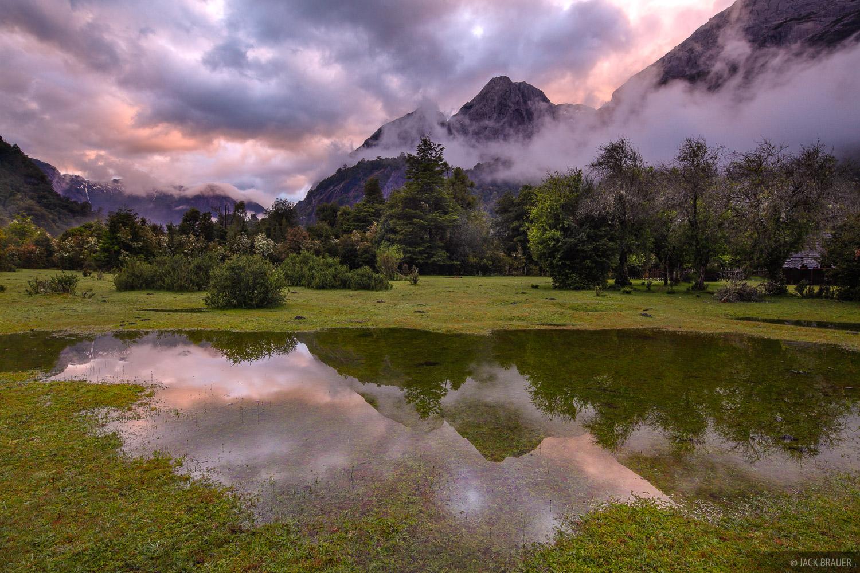 Chile, Cochamo, South America, Cochamó, sunset, reflection, photo