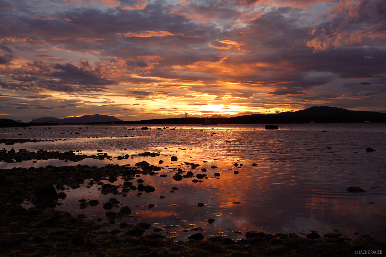 A gorgeous sunset seen from Puerto Natales - December.