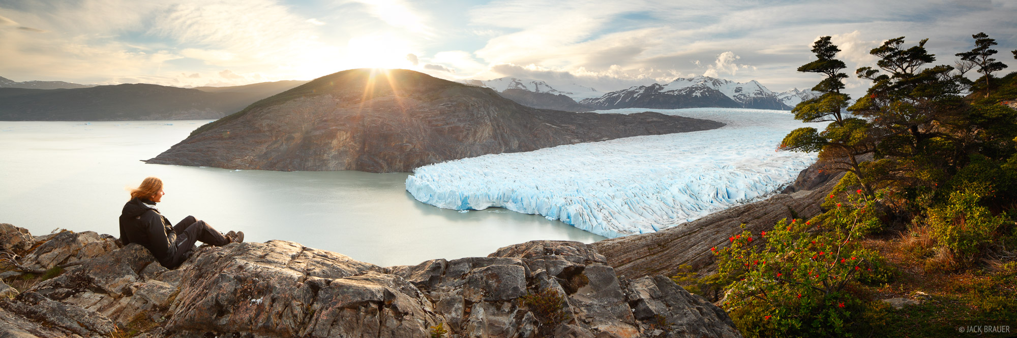 Glaciar Grey, Torres del Paine, Chile, panorama, sunset
