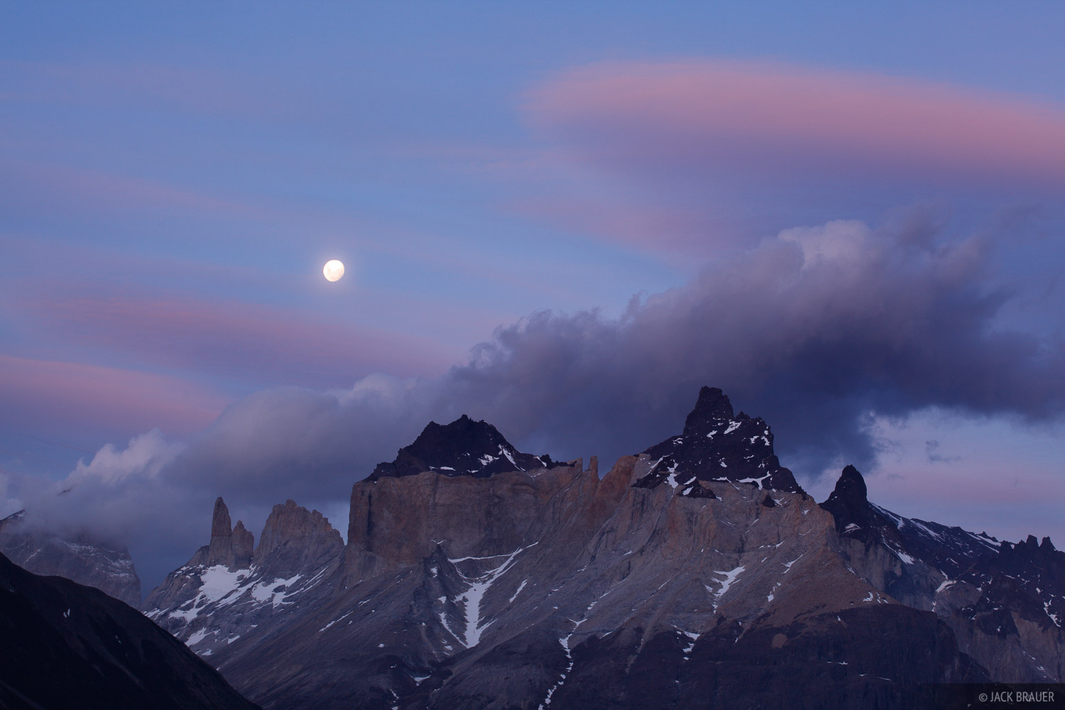 Torres del Paine, moon, Chile, photo
