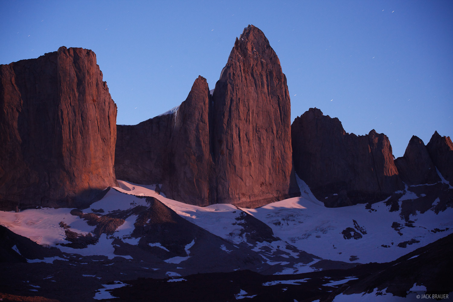 A long exposure reveals moonrise light on Cerro Catedral, in Valle Frances in the center of the Torres del Paine range.