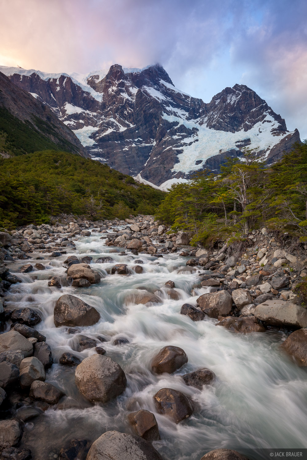 Cerro Paine Grande rises an incredible 2800 vertical meters (9186 ft) above the Rio Frances here!