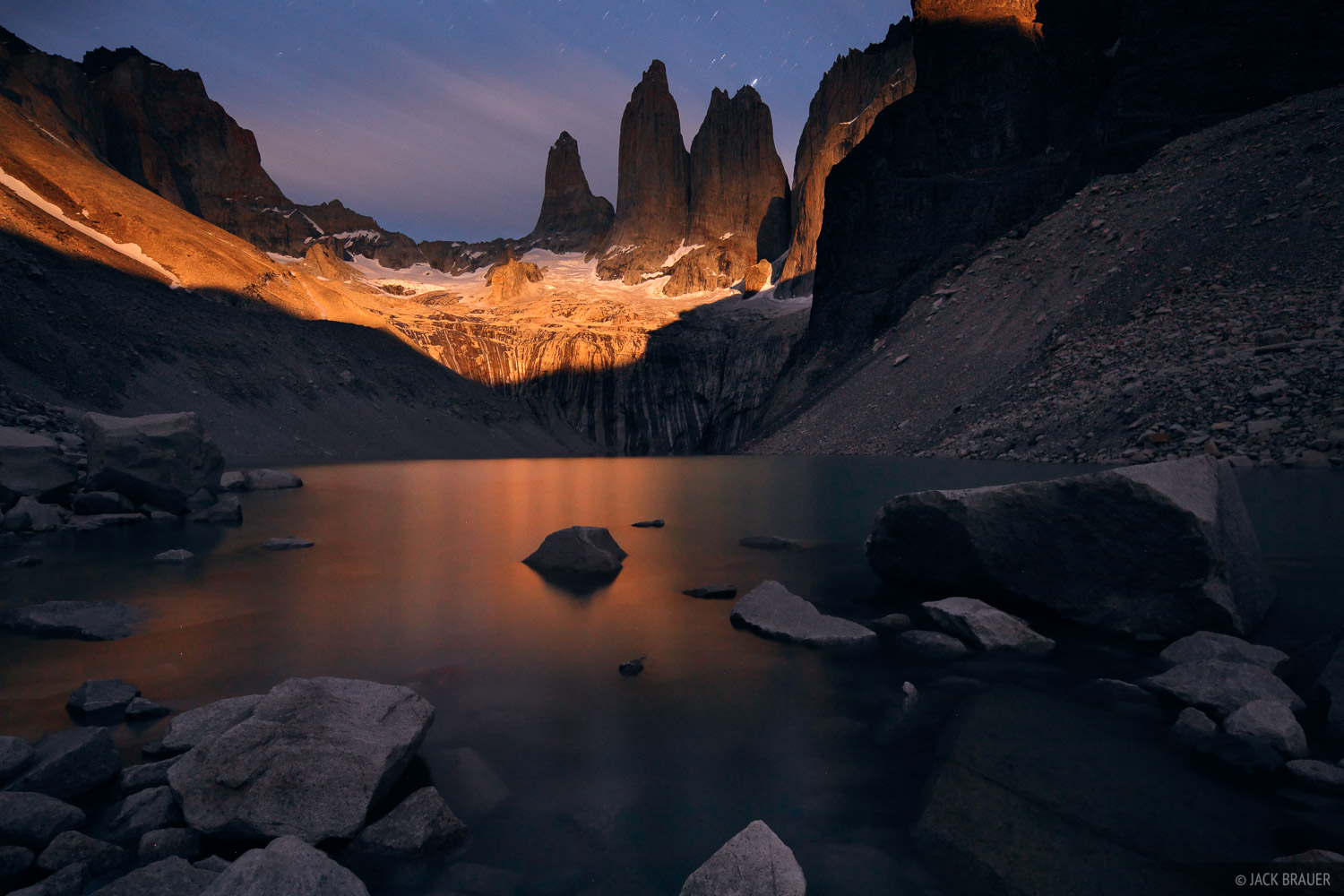 Las Torres, Torres del Paine, Chile, moonlight, photo