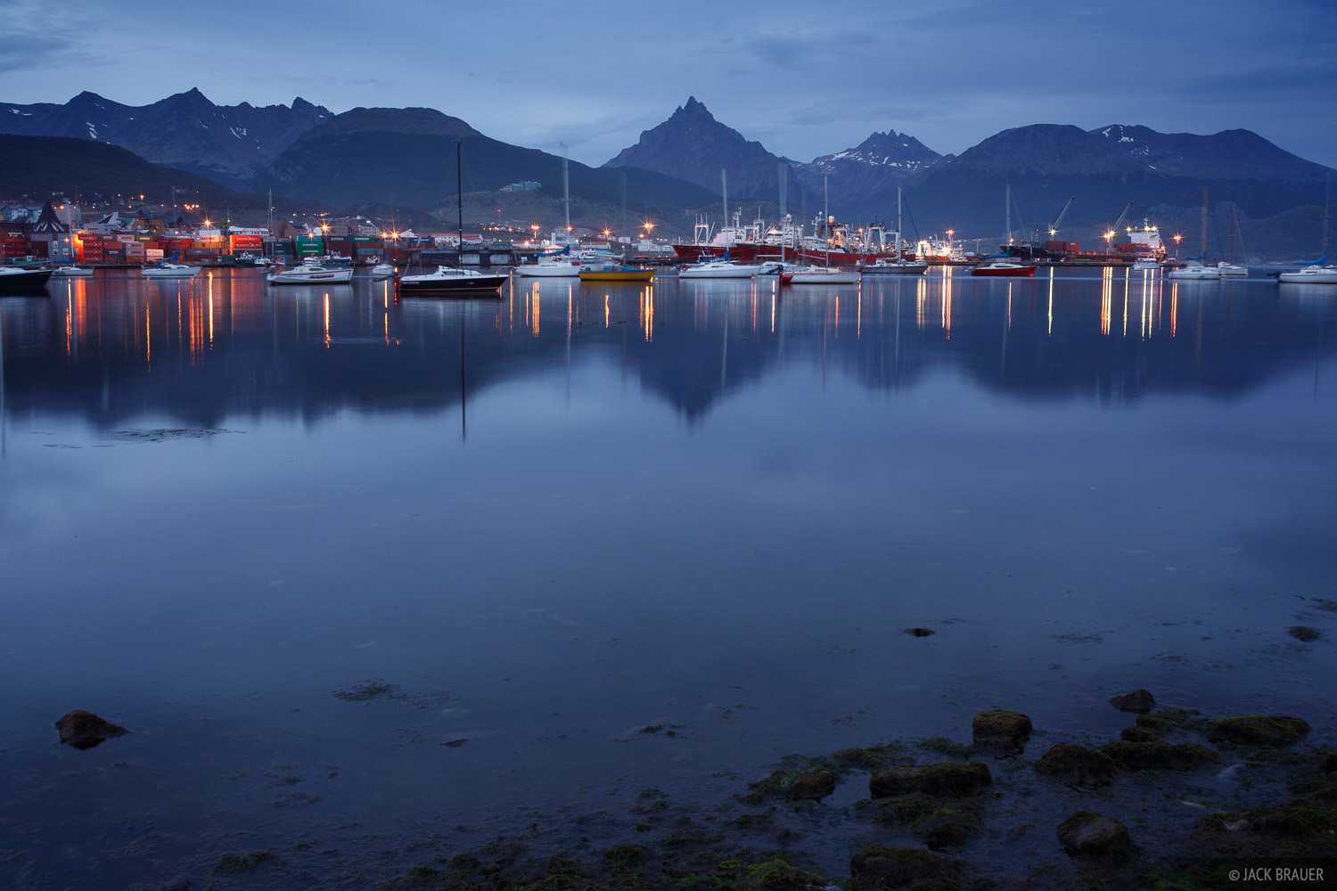 The city of Ushuaia, on the Beagle Channel at the southern tip of South America - January.