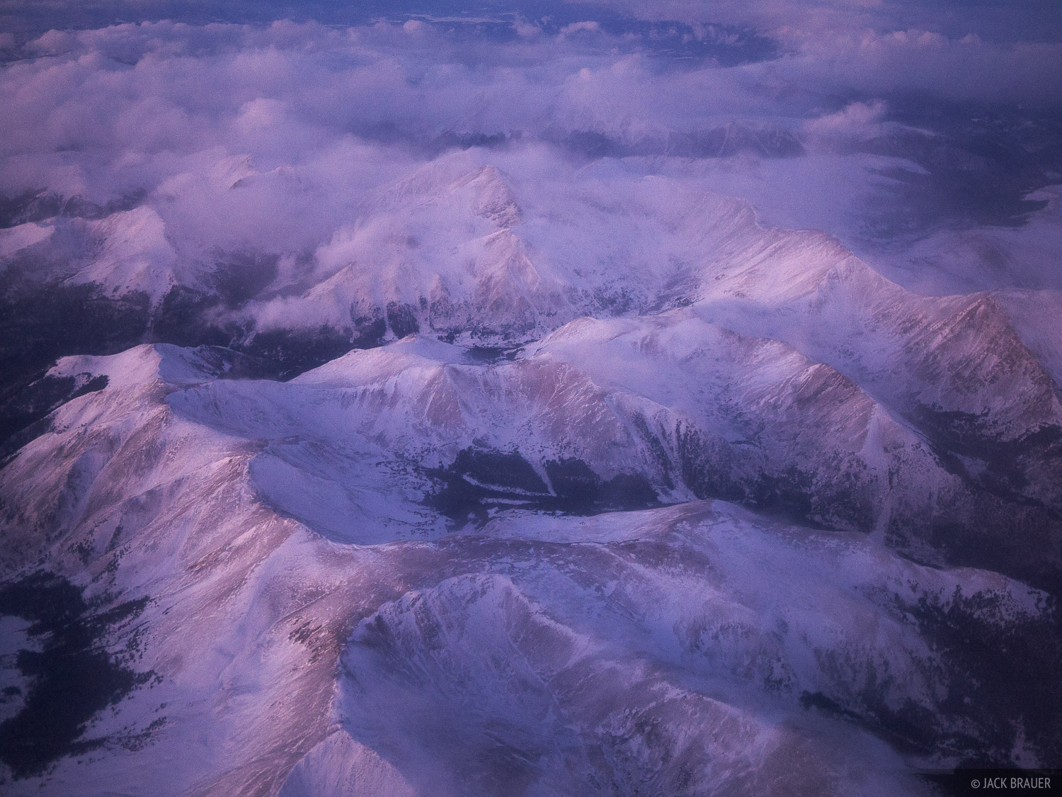 Aerial view of the Continental Divide in winter. Landslide Peak (13,238 ft) is at the bottom. Grays Peak (14278 ft / 4352...