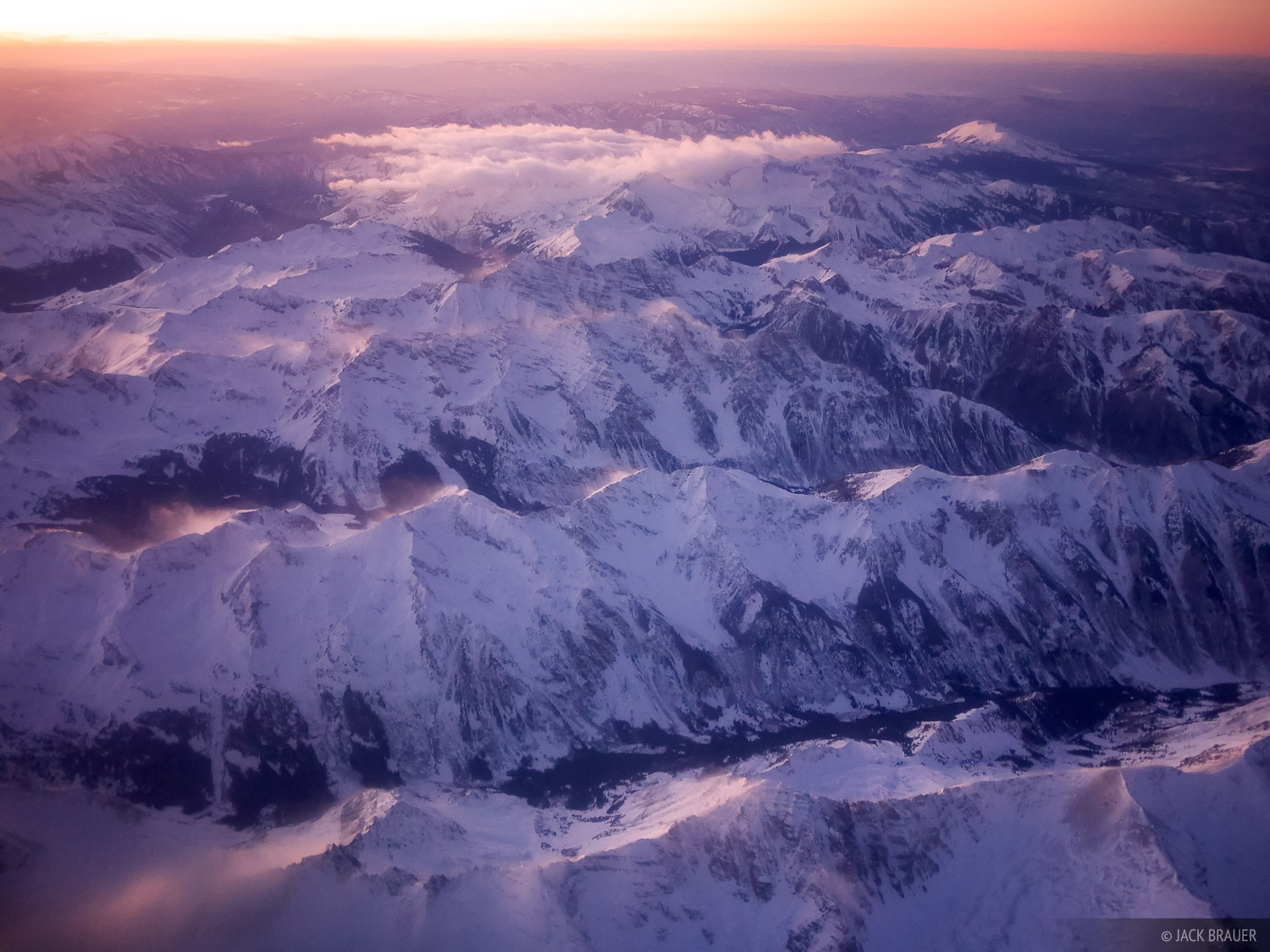 Elk Mountains, Aerial, sunset, Colorado, January, winter, Maroon Bells-Snowmass Wilderness, photo