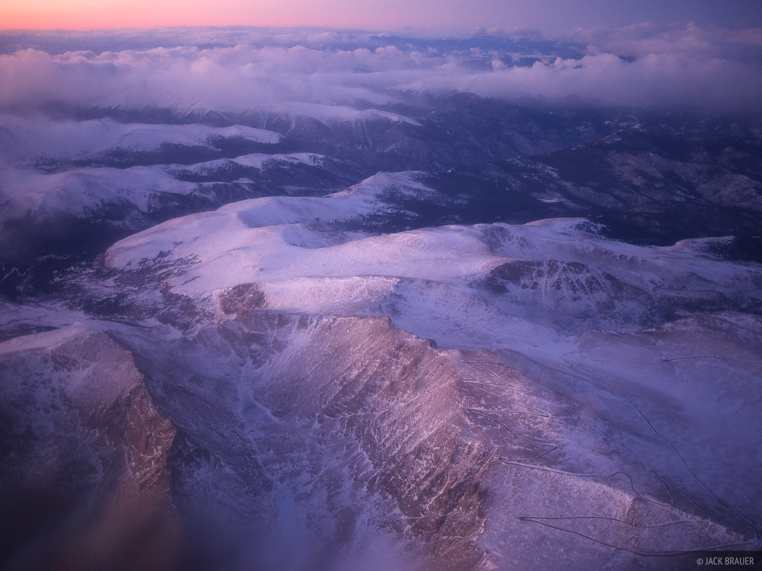 Aerial view of Mt. Evans (14264 ft / 4348 m) - January 2012
