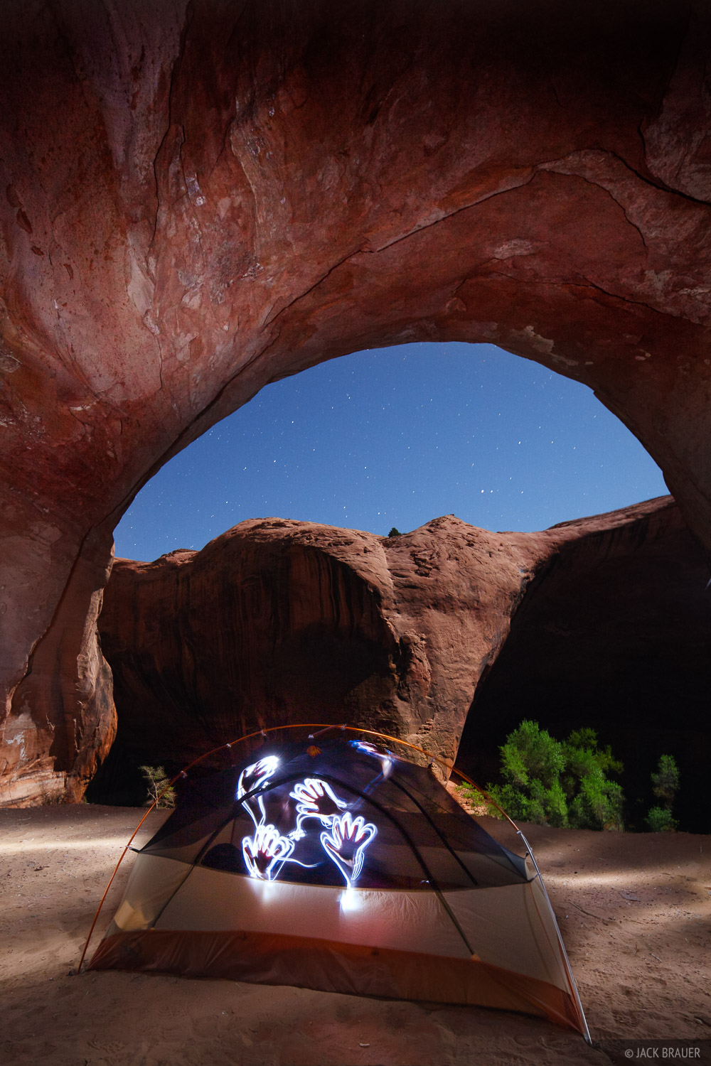 Camping under a huge overhanging alcove in Sleepy Hollow Canyon.