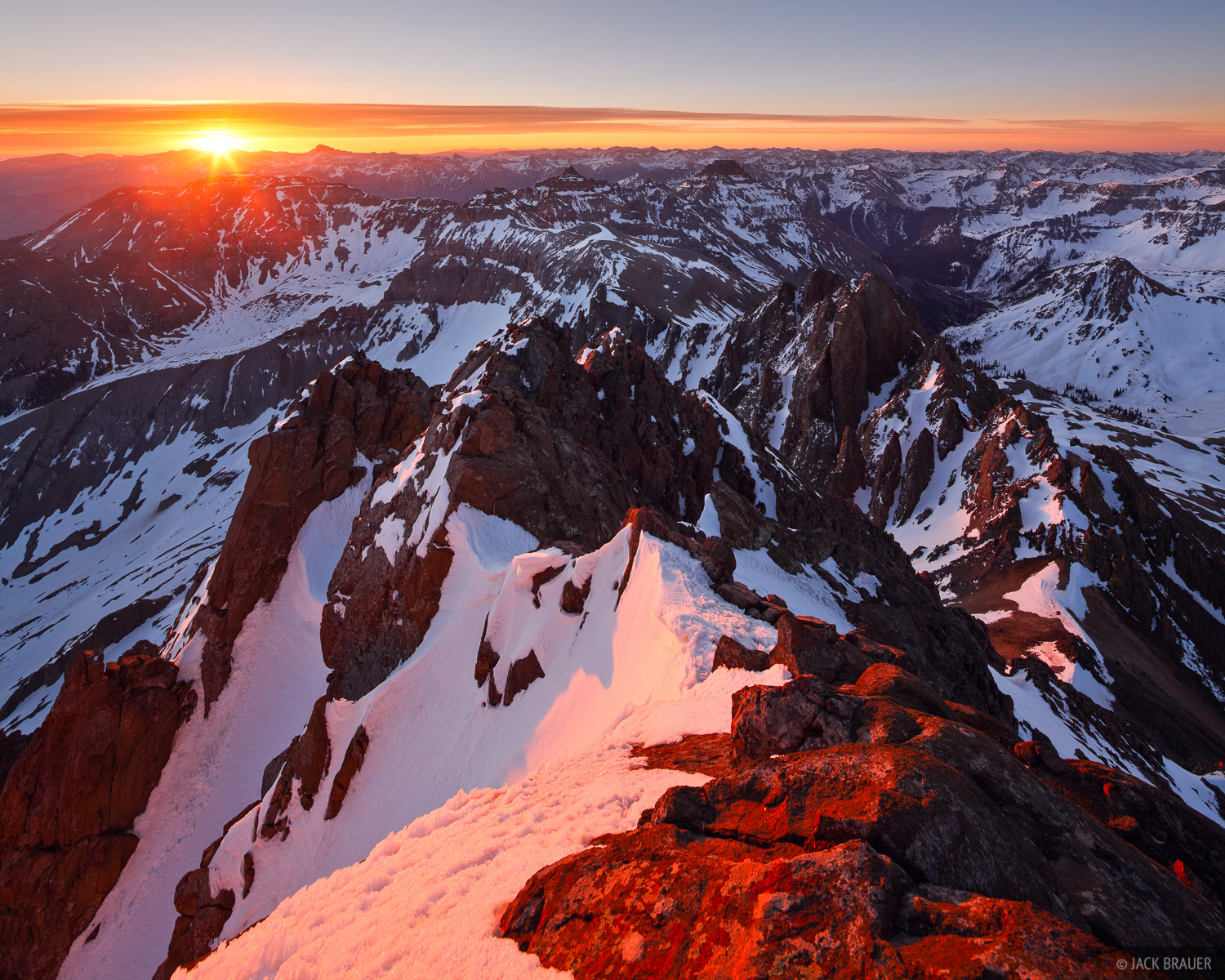 Mt. Sneffels, San Juan Mountains, Colorado, sunrise, summit, photo