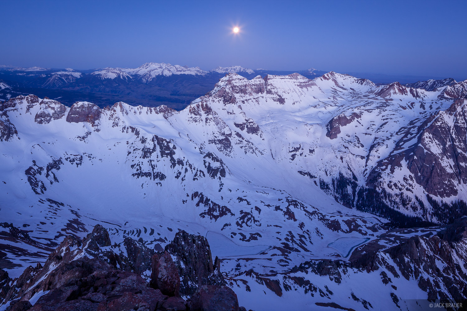 Colorado,Mt. Sneffels,San Juan Mountains,Sneffels Range, Dallas Peak, moon, photo