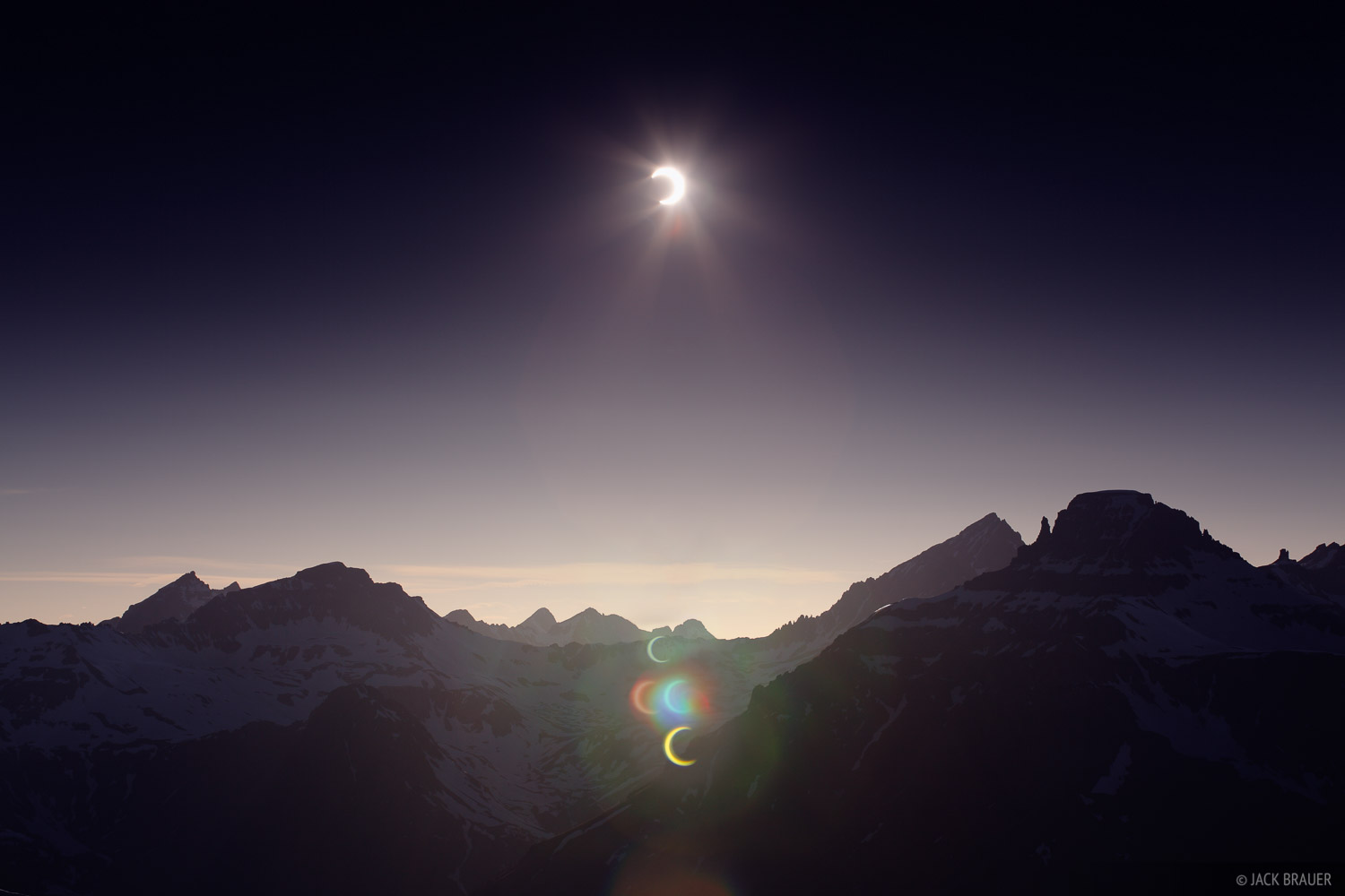 solar eclipse, Mt. Sneffels, San Juan Mountains, Colorado, photo