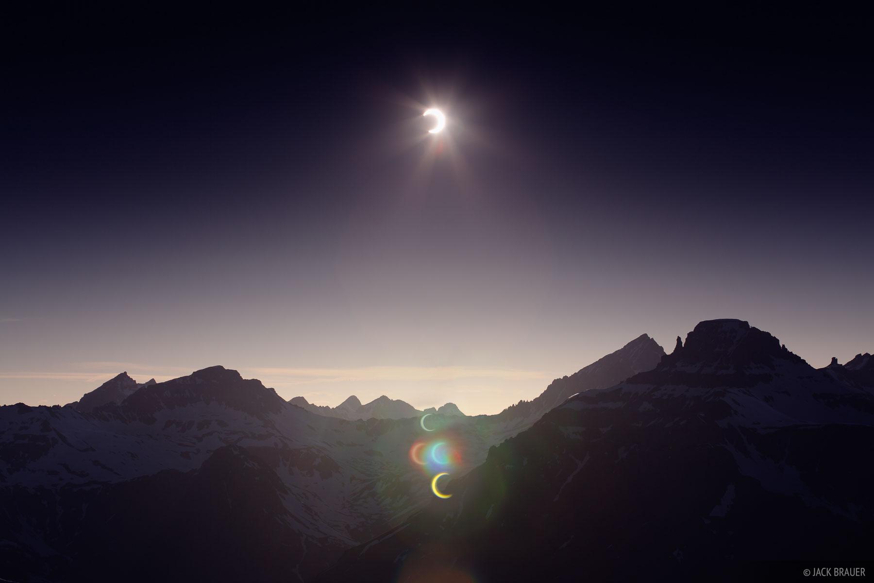 solar eclipse, Mt. Sneffels, San Juan Mountains, Colorado, photo