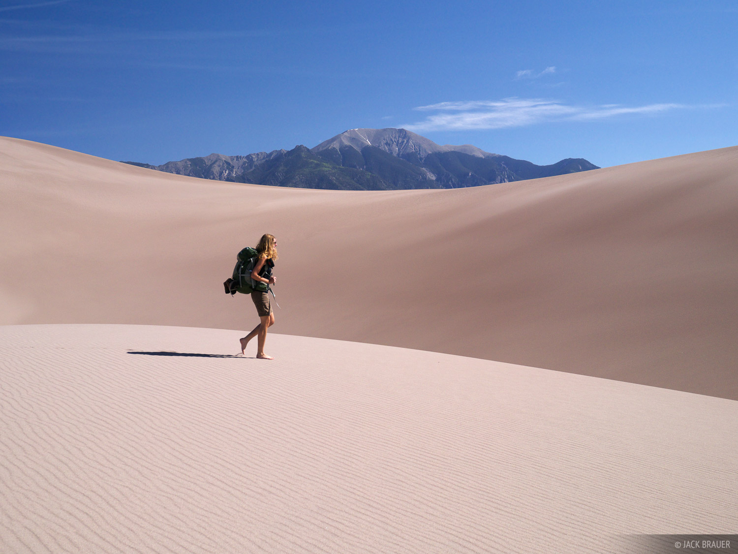 Hiking in the Great Sand Dunes, Colorado.