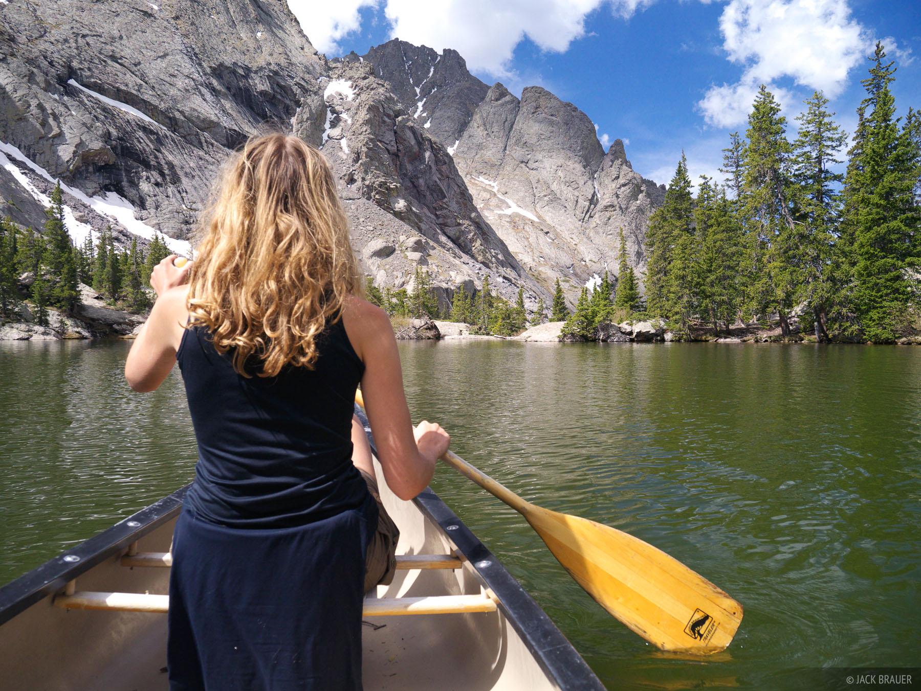 Canoeing on Willow Lake in the Sangre de Cristo Range, Colorado.