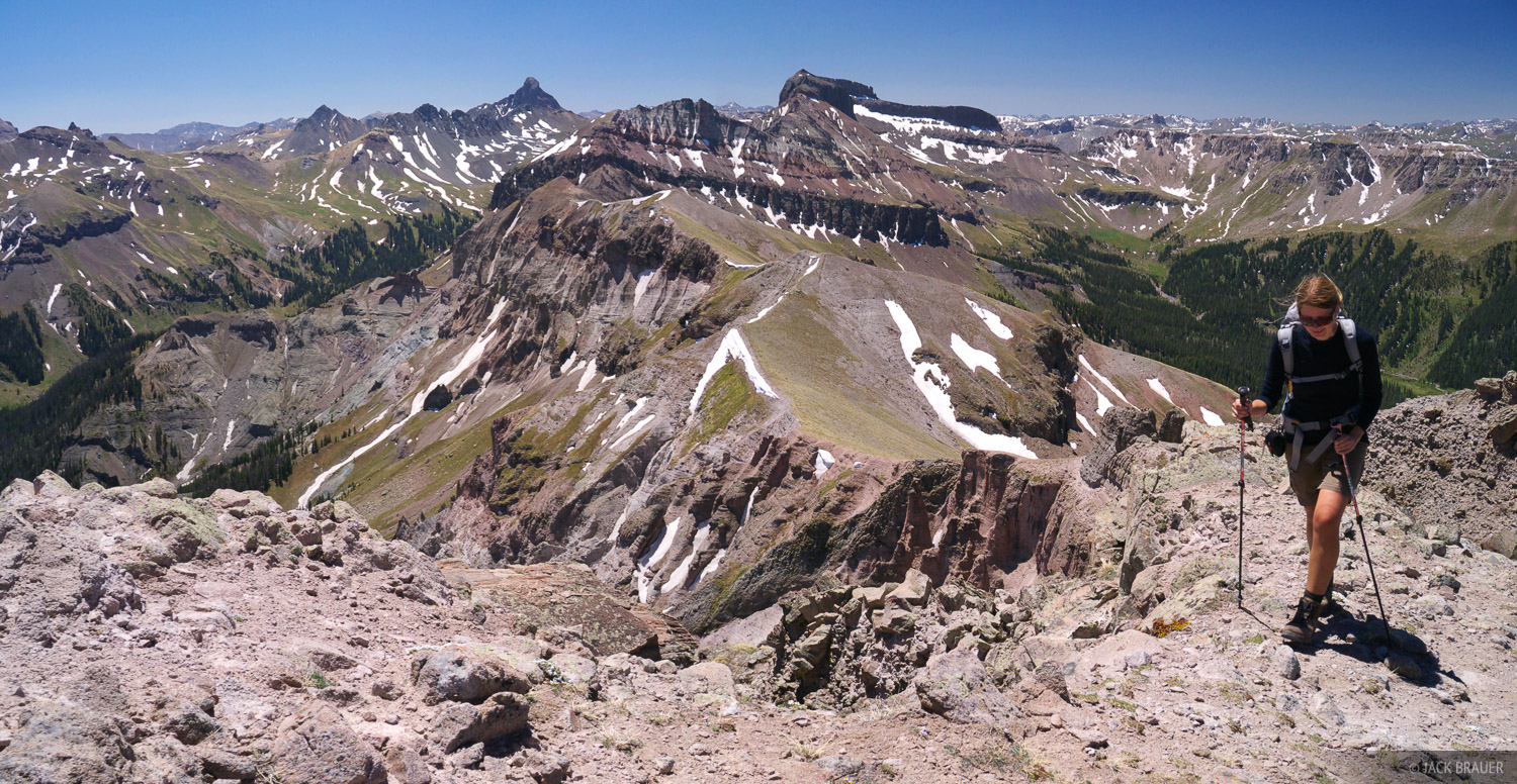 Hiking to the summit of Precipice Peak in the Cimarrons of the Uncompahgre Wilderness, with a view of Wetterhorn Peak and Coxcomb...