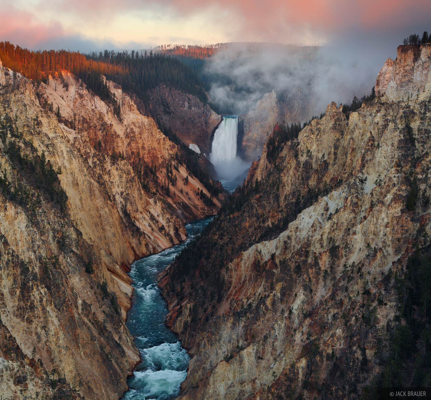 Grand Canyon of the Yellowstone, Yellowstone National Park, Wyoming, Artist Point, sunrise, waterfall, photo