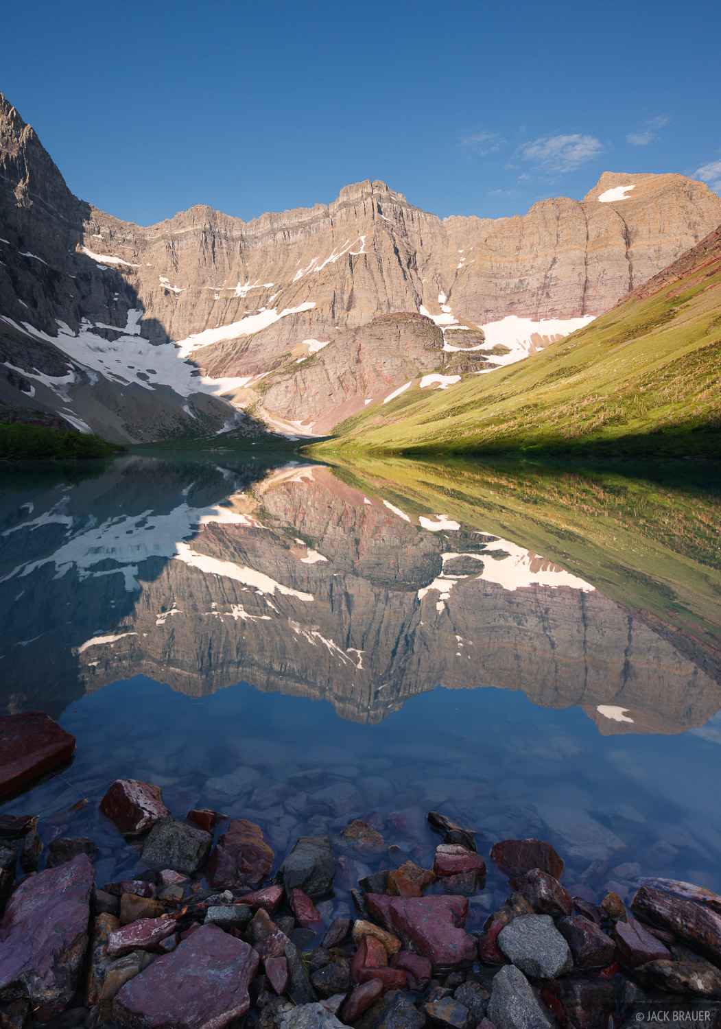 Cracker Lake, Glacier National Park, Montana, reflection, july, photo