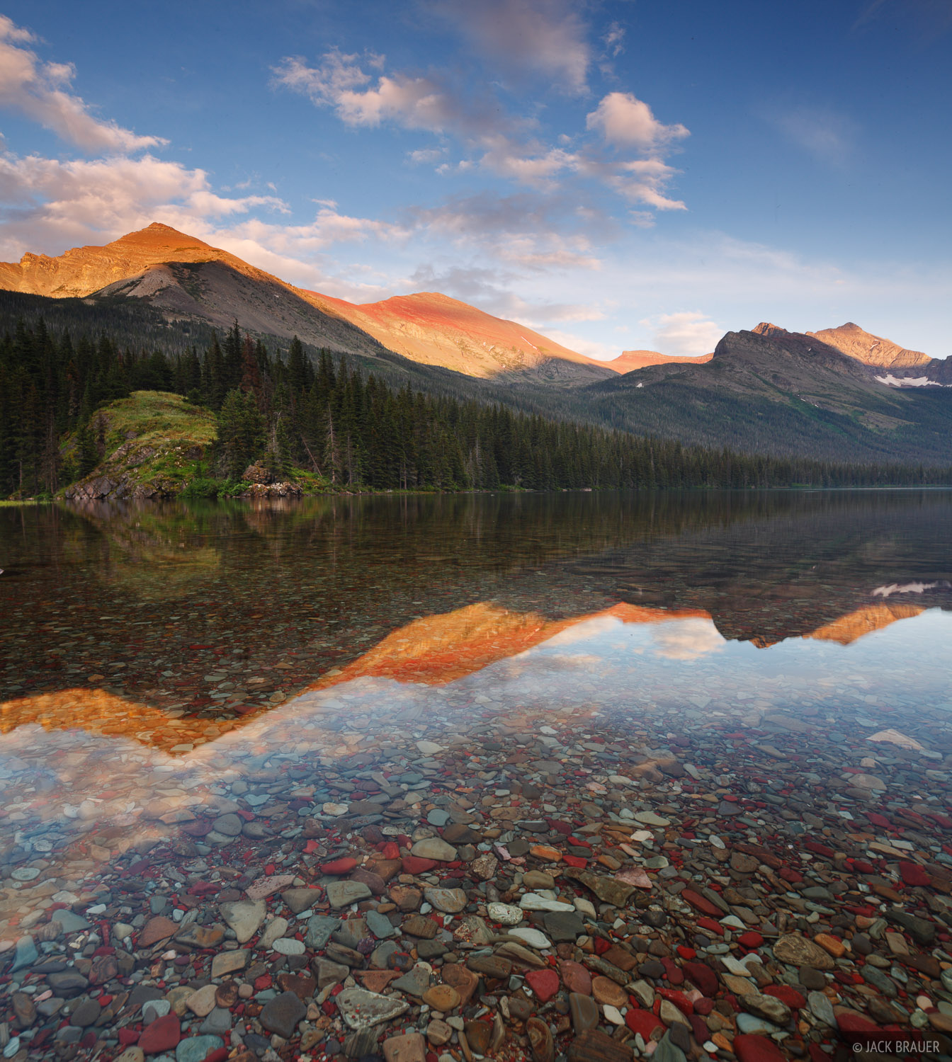 Elizabeth Lake, Seward Mountain, sunset, Glacier National Park, Montana, reflection, photo