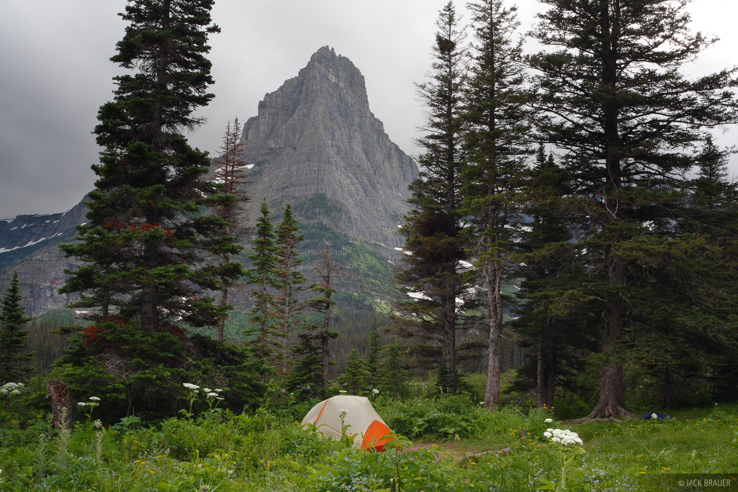 Glenns Lake, Pyramid Peak, Glacier National Park, Montana, tent, camping, photo