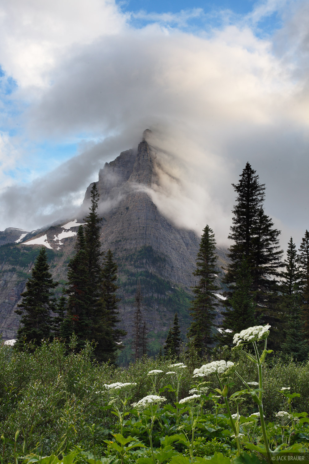Pyramid Peak, Glacier National Park, Montana, clouds, photo