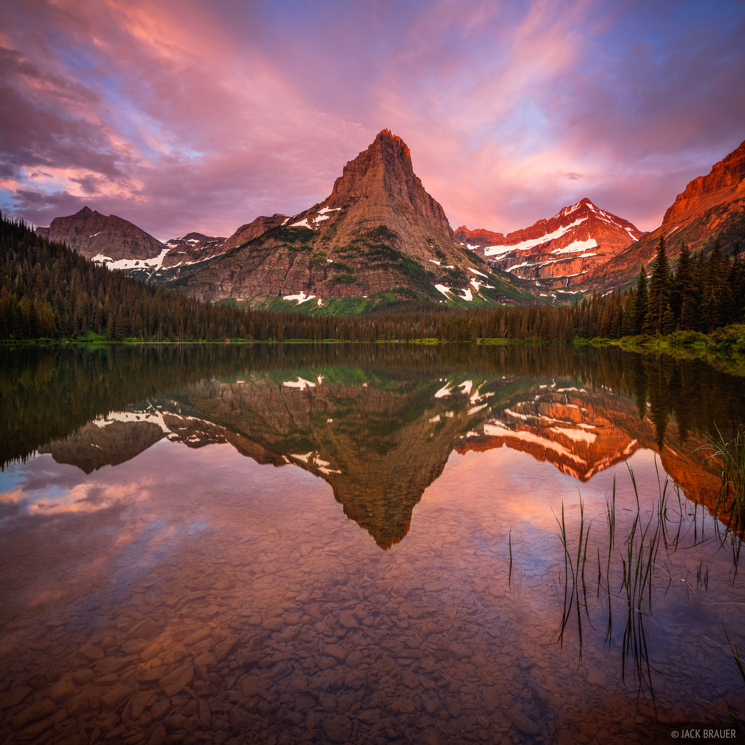 Pyramid Peak, Glacier National Park, Montana, sunrise, reflection, Glenns Lake, photo