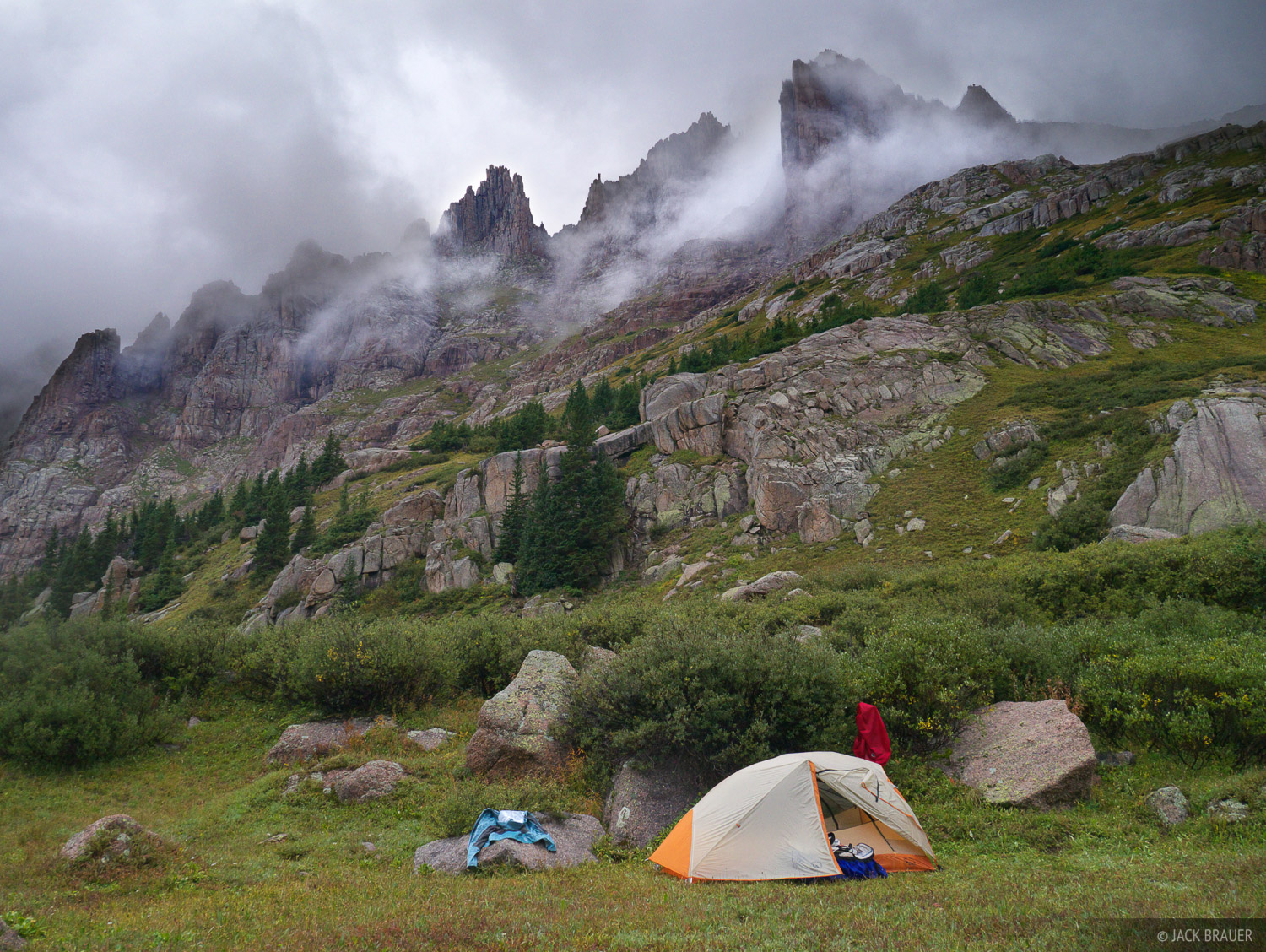 tent, camping, Weminuche, San Juan Mountains, Colorado, stormy, photo