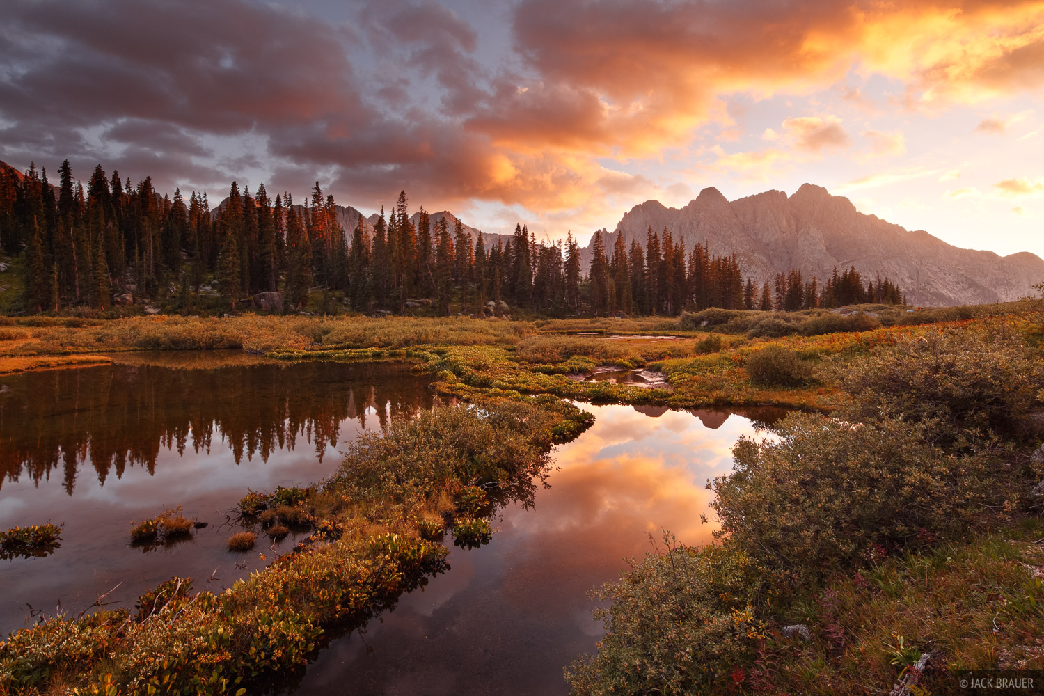 A fiery sunset over a remote valley in the Weminuche Wilderness.