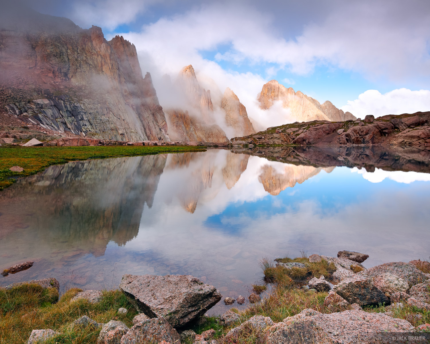 Needle Mountains, San Juan Mountains, Colorado, Weminuche Wilderness, clouds, reflection, photo