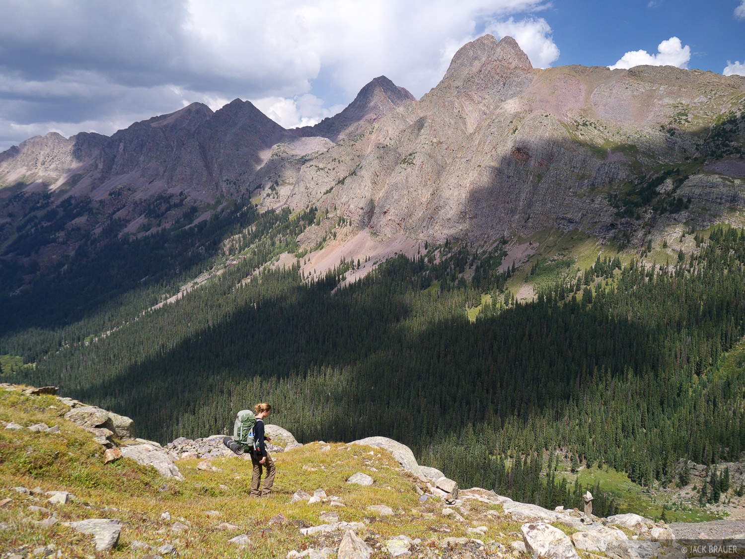 Backpacking in the Weminuche Wilderness, with a dramatic backdrop of the Grenadier Range - Vestal Peak (13844 ft.) is most prominent...
