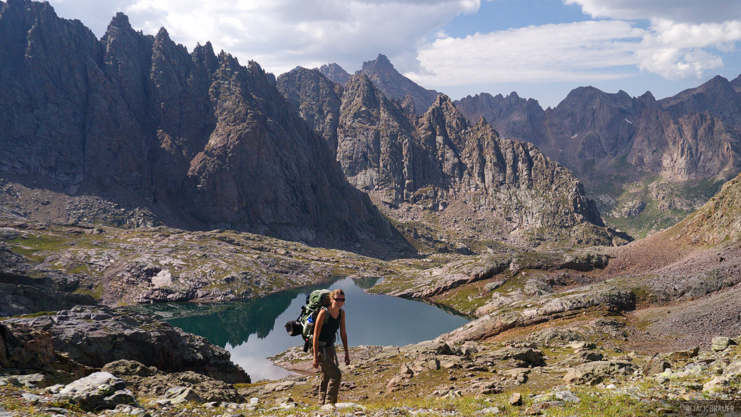 Hiking deep in the Needle Mountains in the Weminuche Wilderness.