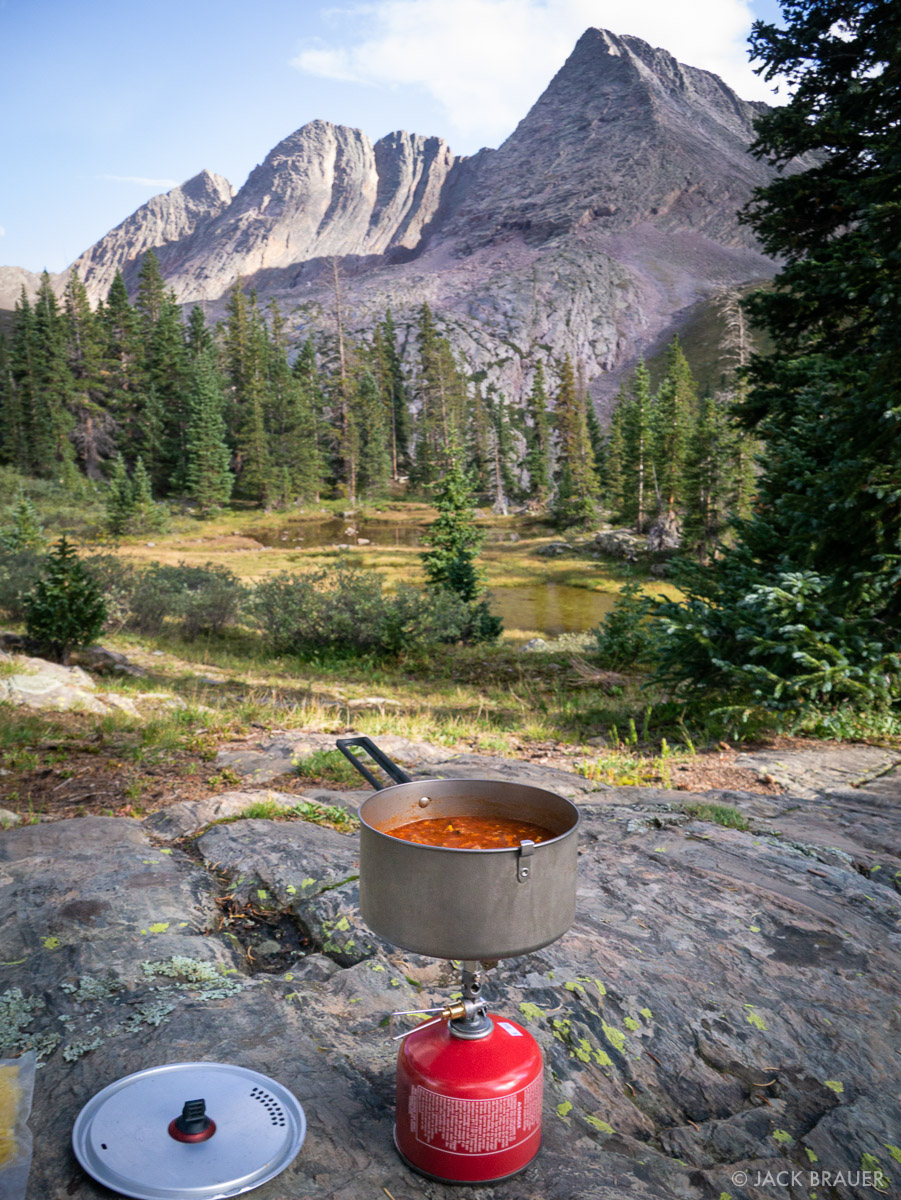 Cooking a dehydrated home cooked meal in the Grenadier Range, Colorado.