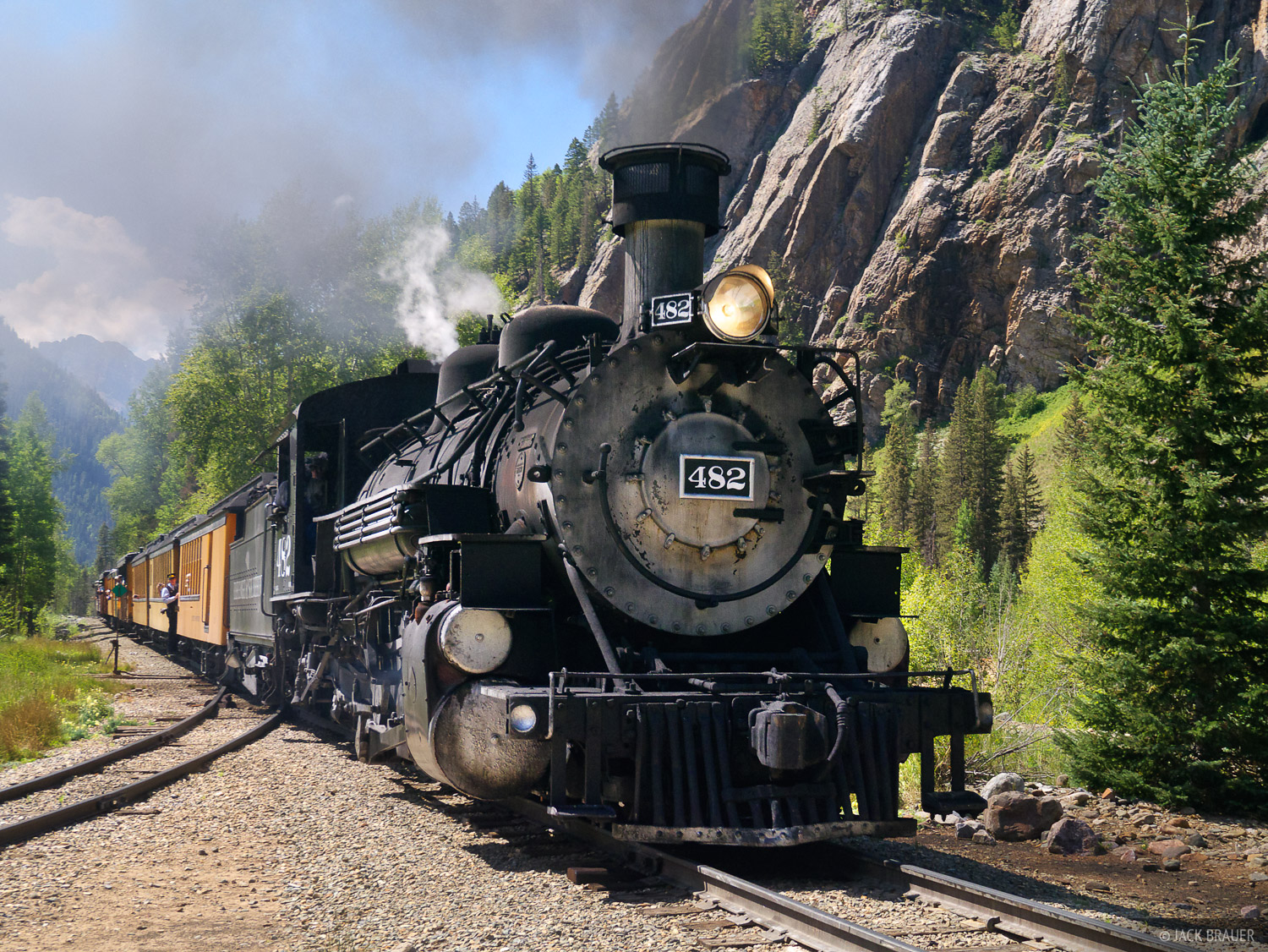 The scenic narrow guage railroad coal-fired train from Durango to Silverton picks us up at Elk Park.
