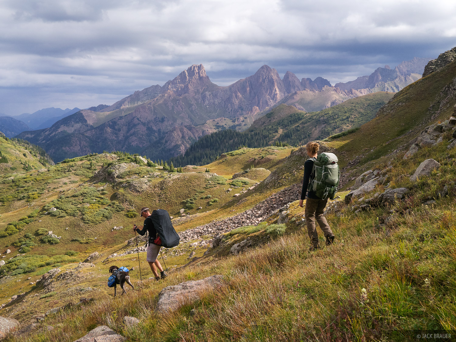 Hiking into a gorgeous basin below the Needle Mountains.