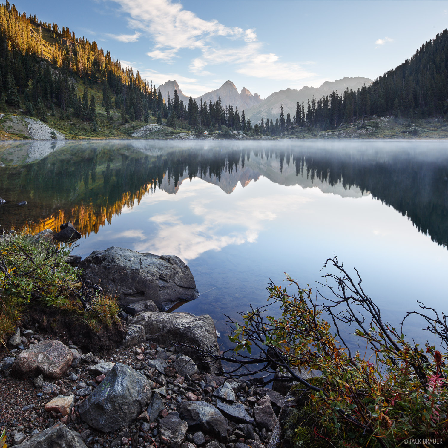 Mist on a remote lake in the Weminuche Wilderness.