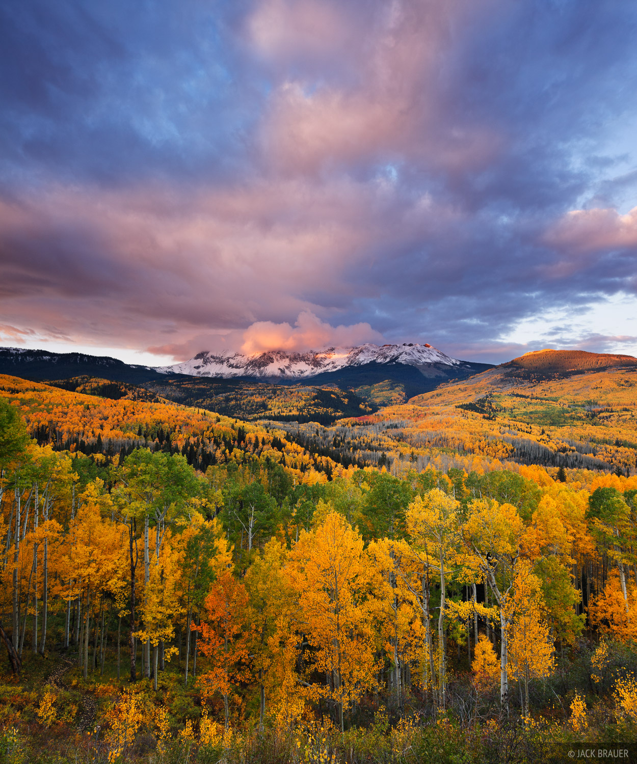A stormy sunrise above Dolores Peak and the vast aspen groves of the Fall Creek valley near Telluride, Colorado - September.
