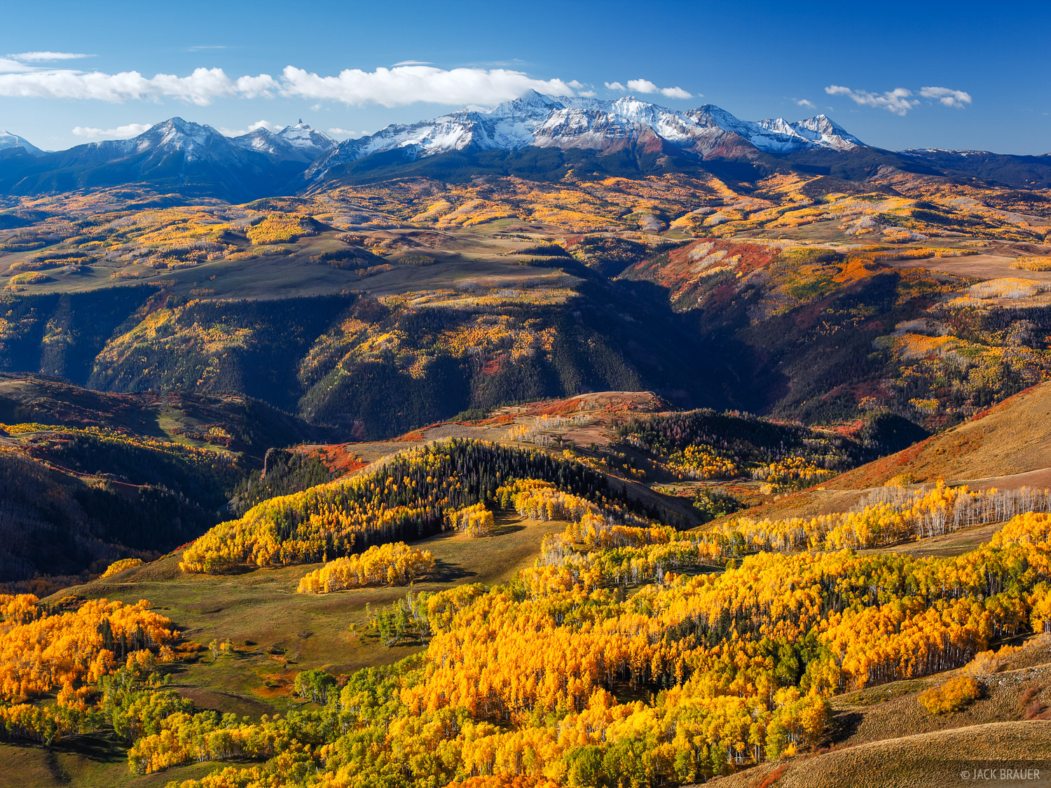 A sweeping view of Wilson Peak and Wilson Mesa and its many aspen groves, as seen from Last Dollar Mountain - September.