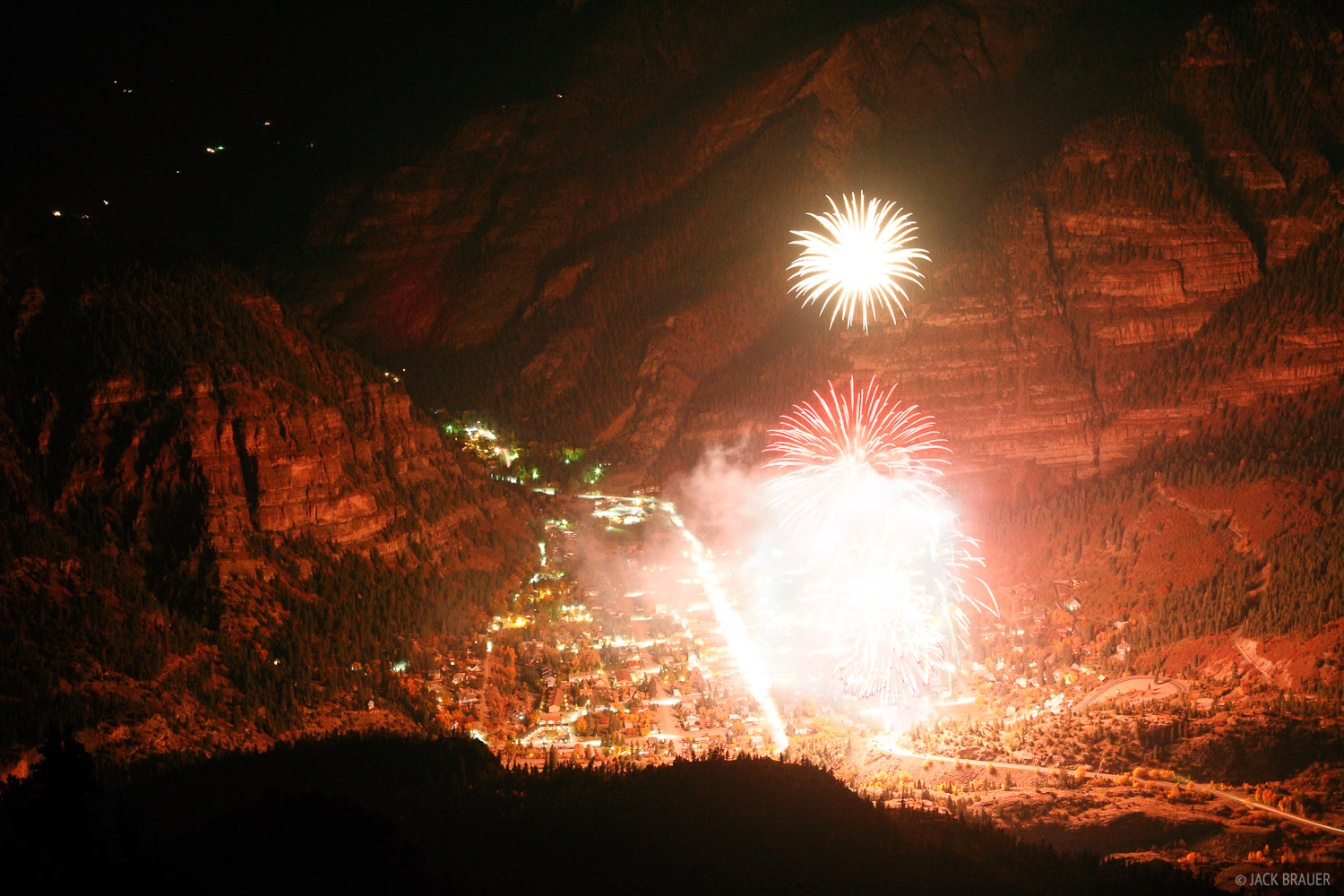 Ouray, Colorado, fireworks, Octoberfest, Hayden Mountain, photo