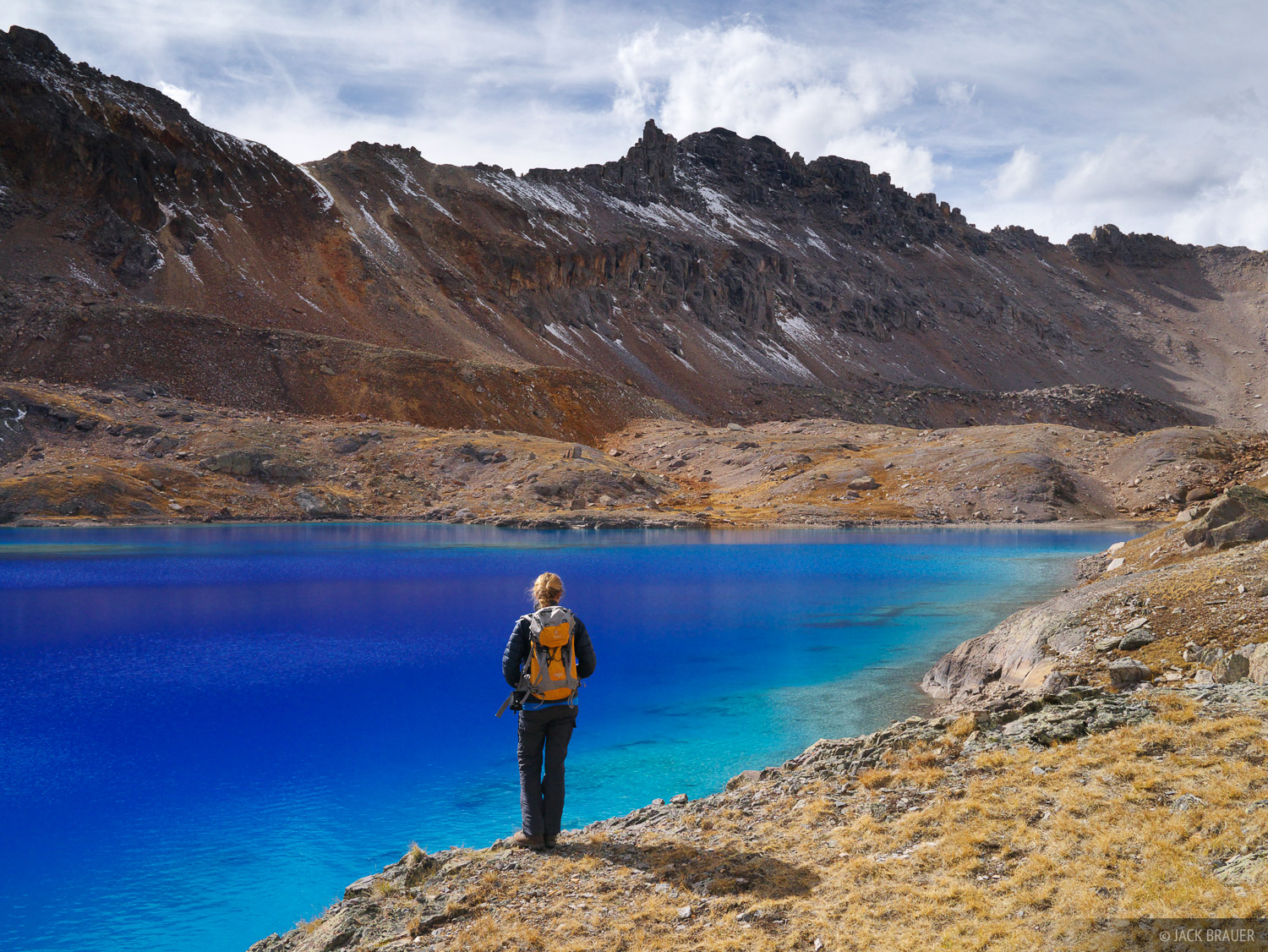 Columbine Lake, San Juan Mountains, Colorado, October, hiker, photo