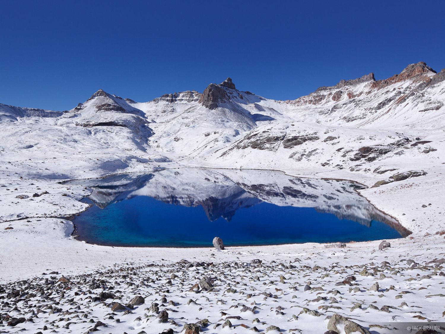 Golden Horn (13,769 ft.) reflection in Ice Lake on a gorgeous calm bluebird October morning after a two-day storm - the second...