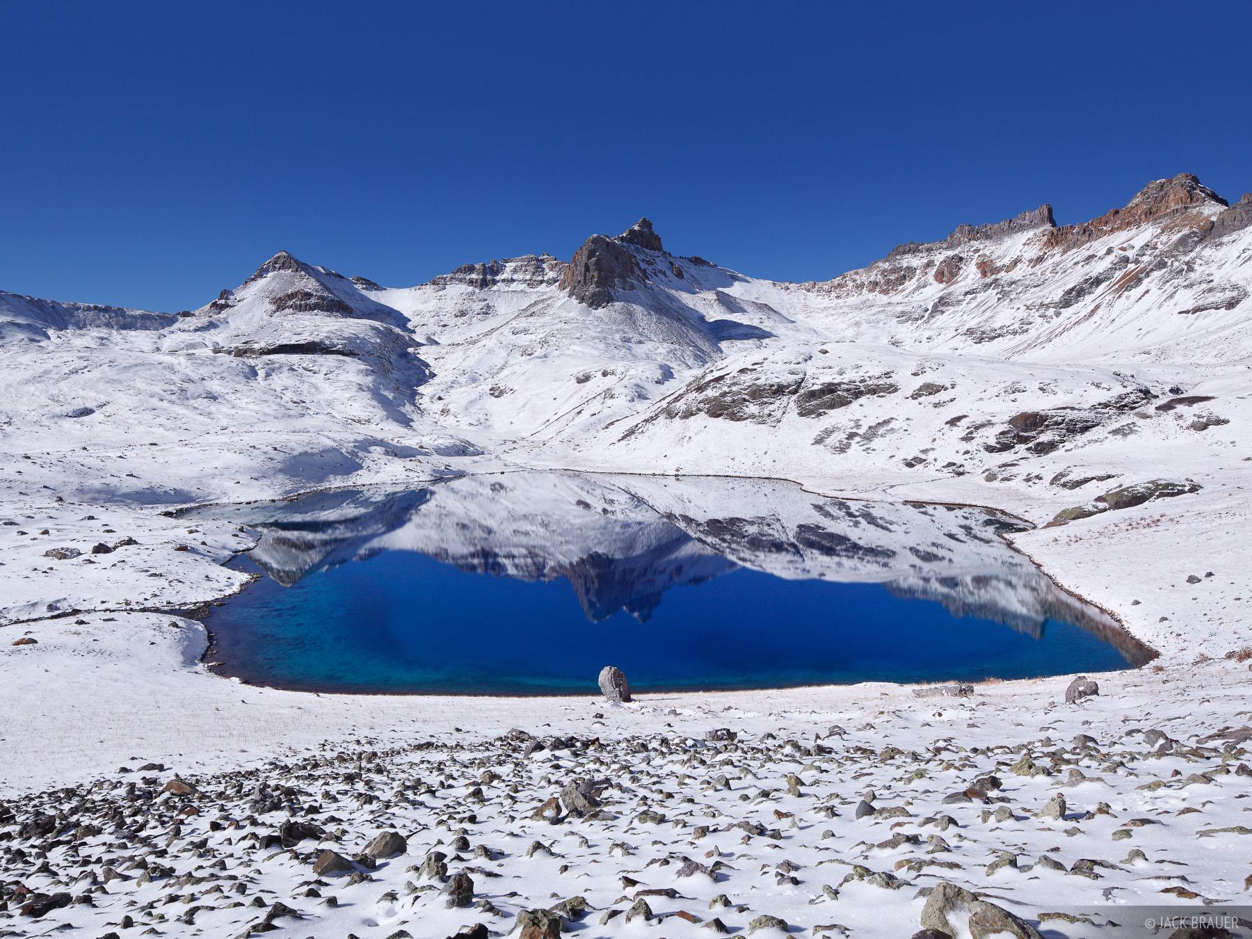 Ice Lakes, San Juan Mountains, Colorado, bluebird, October, snow, lake, blue, Golden Horn, photo
