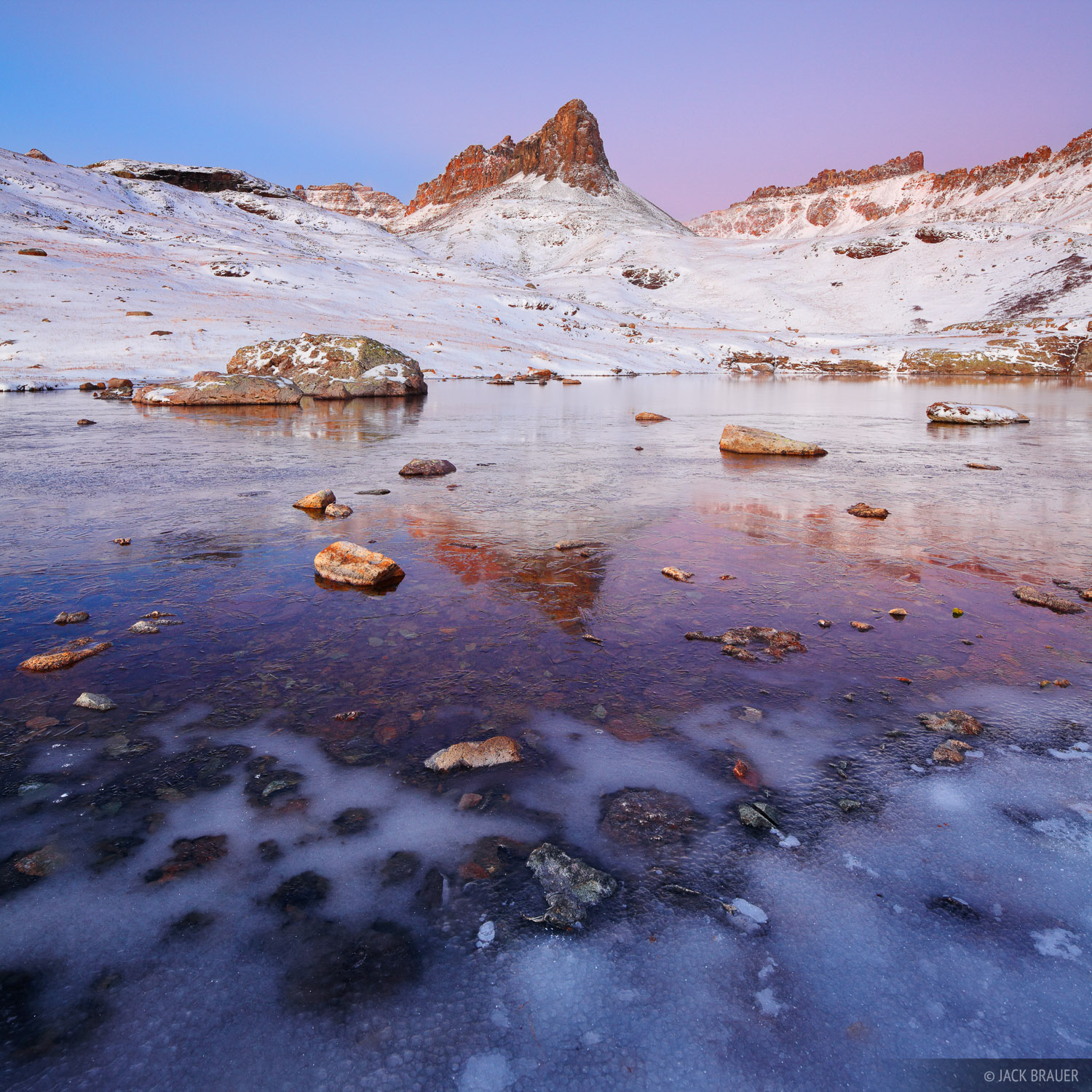 Ice Lakes, San Juan Mountains, Colorado, October, icy, ice, dawn, photo